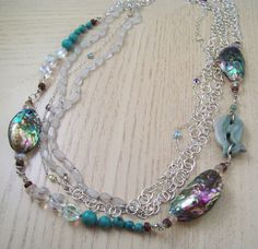 Mom Would Love This Abalone Statement Necklace! Abalone Necklace with Turquoise, Sterling Silver Chain, Rose Quartz, and Crystals