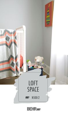 Adding a timeless style to this baby nursery, Behr Paint in Loft Space is the perfect addition to this room. Pops of pink brighten up the neutral color palette in this space. Learn how you can add this color to your home. Click below for full color details.