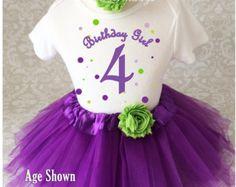 Fast Shipping Birthday Purple Green Polka by BirthdayTutuOutfits