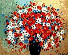 Painting with a colorful bouquet. Women love flowers, not only the real ones :)