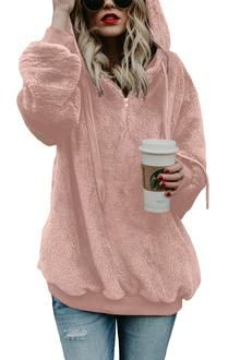 1d214a058 Let people notice your coziness and fabulous style when you choose to top  your clothes with this light grey hooded fuzzy fleece oversized sweater.