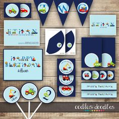 Transportation Birthday PARTY PACKAGE / 1st  2nd  3rd Boys Birthday Party Kit / Alphabet Art Birthday  - Printable via Etsy