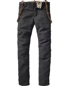 Wool pants with leather suspenders Wollhose mit ledernen Hosenträgern Tweed Pants, Wool Pants, Trousers, Fashion Mark, Mens Fashion, Leather Suspenders, Button Suspenders, Ivy League Style, Suspender Pants