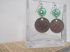 recycled coin earrings emerald green vintage by BelladonnasRagDoll, $16.00