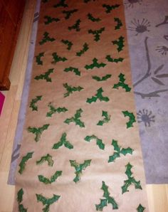 Holly stamp Christmas wrapping paper