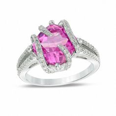 Zales 6.0mm Cushion-Cut Lab-Created Opal, Pink Sapphire and Diamond Accent Frame Ring in Sterling Silver