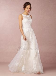 A-Line/Princess Scoop Neck Floor-Length Beading Appliques Lace Tulle Lace Zipper Up Regular Straps Sleeveless Hall Garden / Outdoor Reception General No Spring Summer Fall Ivory White Wedding Dress