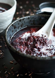 black rice and coconut milk idea