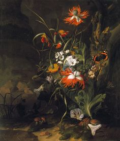 Forest Floor still life by Rachel Ruysch, who was the best-documented female painter of the Dutch Golden Age. Ruysch specialised in flowers, inventing her own style and achieving international fame over the course of her career. Oil on Canvas, Dutch Still Life, Francis Picabia, Female Painters, Wall Art Wallpaper, Teal Wallpaper, Wallpaper Ideas, Dutch Golden Age, Forest Floor, Dutch Painters