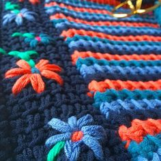 Embroidery and tunisian crochet is a beautiful combination tunischhaken bordurenhellip