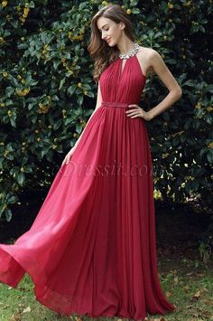 New Halter Neck Ruched Dark Red Prom Dress Party Dress