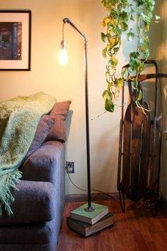 pipe lamp. would look cool with copper too.