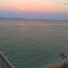 Moon in the morning in Oahu. Love Love Hawaii!!!!