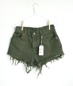 Hand distressed Levi cut off high waisted shorts by maddieebitch ...