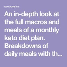 An in-depth look at the full macros and meals of a monthly keto diet plan. Breakdowns of daily meals with the fats, proteins, and carbs included. You can download the e-book with recipes and tips from me to help you through your journey!