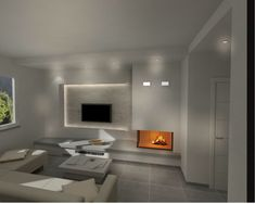 Modern Fireplace, Home Interior Design, New Homes, Sweet Home, Lounge, Living Room, House Styles, Furniture, Star Tv
