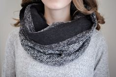 BALUCHON BALUCHON TUBE/FOULARD TWEED GRIS/NOIR T736 Tweed, Fashion, Gray, Headscarves, Winter, Accessories, Moda, Fashion Styles, Fashion Illustrations