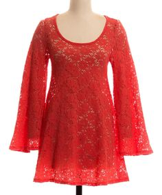 Look at this #zulilyfind! Coral Bell-Sleeve Scoop Neck Dress by Coveted Clothing #zulilyfinds