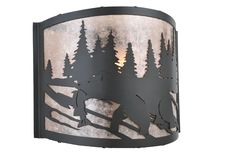 12 Inch W Grizzly Bear Left Wall Sconce - 12 Inch W Grizzly Bear Left Wall SconceIn front of a stand of tall pine trees is a brown bear with his prized catch of the day. This picturesque scene is handcrafted in a black finished frame with a stunning silver mica shade. The sconce was handcrafted by skillful Meyda artisans in Yorkville, New York. Theme: RUSTIC LODGE ANIMALS Product Family: Grizzly Bear Left Product Type: WALL SCONCES Product Application: ONE LIGHT Color: BLACK/SILVER MICA Bulb…