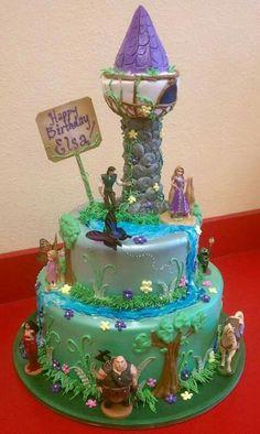 Rapunzel Birthday Cake For Girls Rapunzel Torte, Bolo Rapunzel, Rapunzel Birthday Cake, Tangled Birthday Party, Birthday Cake Girls, Rapunzel Cake Ideas, 5th Birthday, Birthday Cakes, Birthday Ideas