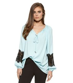 Lace Sleeve Peasant Top-Mist-XS - Karen Kane - Get $25 Off