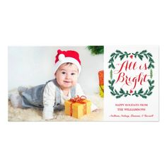 All is Bright Holiday Photo Card by Orabella Prints