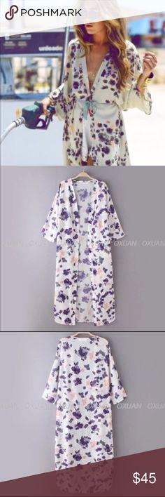 """HP! 🏆 Floral Boho Chic Long Kimono Cardigan Super cute long kimono. It is primarily white with purple flowers. Made out of chiffon material. Small size. Length: 50.8"""" Shoulder to sleeve: 22.4"""" Does not come with size tags which is why I provided the measurements. Does not come with tie or belt shown in picture. Sweaters Cardigans"""