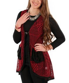 Take a look at this Long Crochet Vest - Plus by Lily on #zulily today!