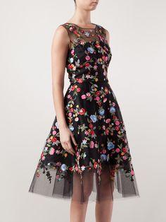 oscar de la renta black floral embroidered tulle dress