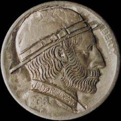 JOHN DORUSA HOBO NICKEL - BEARDED MAN WEARING DERBY - 1936 BUFFALO PROFILE Hobo Nickel, Bearded Men, Derby, Buffalo, Coins, Auction, Profile, Men Beard, User Profile
