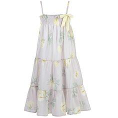 Robe longue à bretelles en voile de coton - Gris pâle et jaune Miss Blumarine pour fille   Melijoe.com