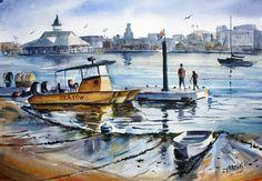 Original Watercolor of Newport Harbor. by KenHarrisWatercolors on Etsy