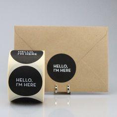 "Stickers ""Hello I'm here"" (per 20) - ZWART"
