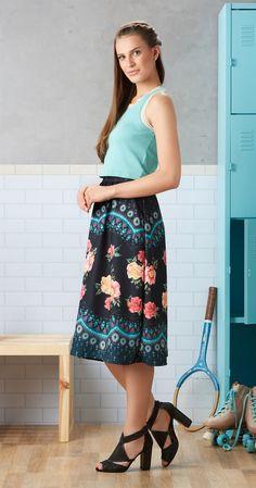 Só na Antix Store você encontra Saia Midi Rendado Floral com exclusividade na internet