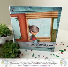 """I created this scene using the """"Love you more"""" stamp set from The Rabbit Hole Designs. Colored with Copic Markers by Jammie Clark of Sweet Sentiment. Love You More, More Fun, The Little Couple, Name That Movie, Unity Stamps, Coffee Gifts, Father Christmas, Rabbit Hole, Colored Paper"""