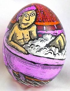 "Artist Roz Chast says that egg art is a perilous process. ""There's something about their fragile nature that in an insane way appeals to me,"" Chast says. Easter Art, Easter Eggs, Roz Chast, Egg Art, Modern Artists, Egg Decorating, Ancient Art, Folk Art, Christmas Bulbs"