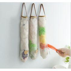 New Kitchen Carrier Bag Storage Holder Storer Organiser Recycler Eco Natural