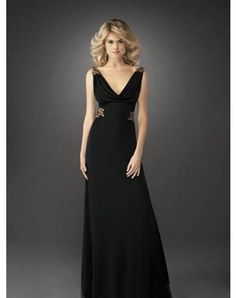 2011 Style Sheath / Column V-neck Applique Sleeveless Floor-length Chiffon Prom Dresses / Evening Dresses (SZ015069 )