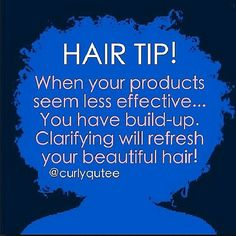 A clarifying shampoo will remove any build up on the hair. Excess build up must be removed to properly cleanse your hair. Natural Hair Care Tips, Natural Hair Regimen, Curly Hair Tips, Natural Hair Journey, Curly Hair Styles, Natural Hair Styles, 4c Hair, Afro Hair, Natural Life
