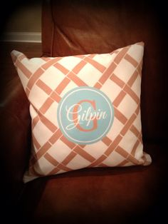 Personalized Throw Pillow, Monogrammed  Pillow, Throw Pillow, Pillow on Etsy, $45.00 www.SasssySouthernGals.etsy.com Wonderful house warming gift, wedding gift, etc