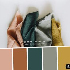 an earthy-textile-inspired color palette — Akula Kreative - an earthy-textile. an earthy-textile-inspired color palette — Akula Kreative - an earthy-textile-inspired color palette // coral clay, terra cotta, spruce green, gray, mustard ye - Earthy Color Palette, Colour Pallete, Grey Palette, Vintage Colour Palette, Earthy Colours, Rustic Colors, Bright Color Palettes, Rose Gold Color Palette, Rustic Color Palettes