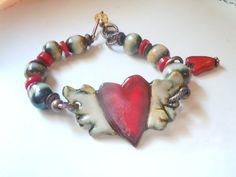 Bracelet  HeArT WiTh WiNgShandcrafted PotterY antique by 316clay, $20.90