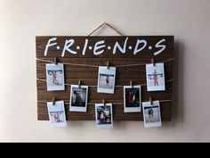 Friends tv show wood polaroid sign / 17 x wood polaroid display with clips / gift for friends / instax mini - People Photos - Ideas of People Photos - FRIENDS TV Show Wood Picture / Polaroid Display with Clips Diy Birthday, Friend Birthday, Birthday Gifts, Diy Home Decor Projects, Diy Room Decor, Polaroid Display, Polaroid Wall, Home Decor Pictures, Bedroom Pictures