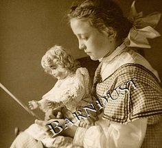 1900 Girl with Bisque Doll, Glass Negative Photo Print (item #1277850)  #dollshopsunited