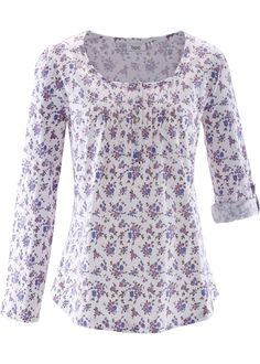 Shirt, bpc bonprix collection, wit gebloemd longsleeve shirt white purple flowers