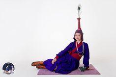 XIV century - Mongolian - silk deel and silk boqtaq headdress
