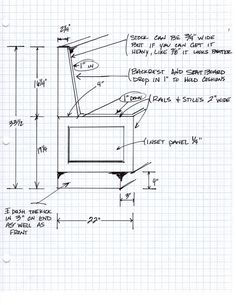 I actually got these measurements after the banquette was built because other woodworkers or DIY homeowners were asking for the information on a regular basis.   I built it from a very rough sketch and less information. A clean drawing or SketchUp image is not always necessary depending on your skill level.