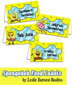 Free Spongebob Pictures To Print | PRINTABLE Spongebob Squarepants Food by LeslieEarnestStudios