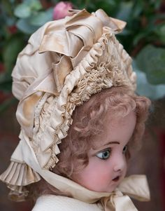 Antique Original French Silk Wire Framed Bavolet Bonnet for Jumeau Bru from respectfulbear on Ruby Lane