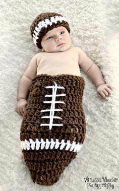 Chunky Football Cocoon Newborn Photo Prop on Sale. $24.99, via Etsy.